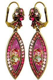 Michal Negrin Fuchsia Roses Eye Cameo Earrings