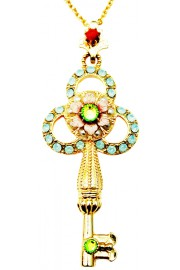 Michal Negrin Vintage Crystals Gold Key Necklace