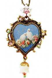 Michal Negrin Doves Cameo Heart Necklace