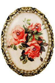 Michal Negrin Pearl Pink Roses Oval Cameo Brooch