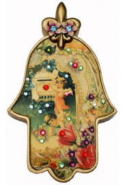 Michal Negrin Antique Style Cherubs Wall Hamsa