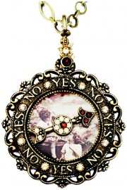 Michal Negrin Vintage Style Yes No Spinner Necklace