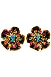 Michal Negrin Multicolor Wild Flower Clip Earrings
