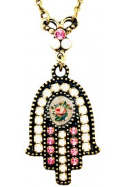 Michal Negrin Pink Cream Rose Cameo Hamsa Necklace