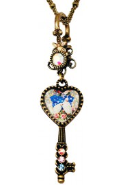 Michal Negrin Doves Heart Key Necklace