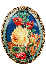 Michal Negrin Multicolor Roses Oval Cameo Brooch