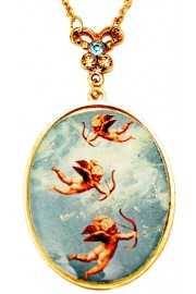 Michal Negrin Flying Cupids Medallion Necklace
