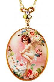 Michal Negrin Pink Cherub Medallion Necklace