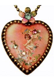 Michal Negrin Pink Cherub Heart Necklace