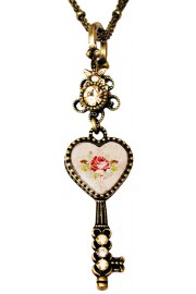 Michal Negrin Rose Heart Key Necklace