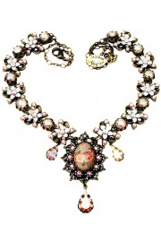 Michal Negrin White Bow Rose Cameo Necklace