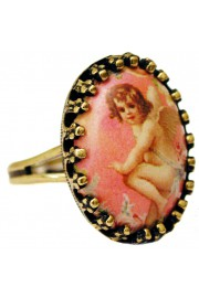 Michal Negrin Pink Cherub Small Cabochon Cameo Ring