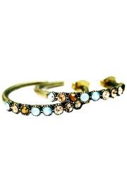 Michal Negrin Bronze Gold Sea Green Row Hoop Earrings