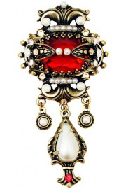 Michal Negrin Regal Red Pearl Brooch