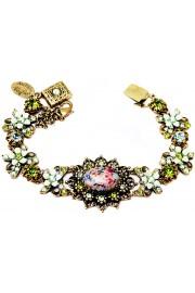 Michal Negrin Green Vintage Cameo Crystal Bracelet