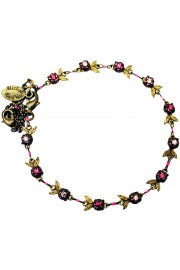Michal Negrin Purple Crystal Beads Floral Anklet