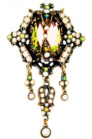 Michal Negrin Antique Glamor Pearl Brooch