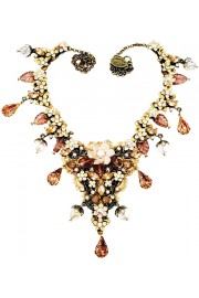 Michal Negrin Peach Ivory Vintage Lace Necklace