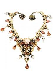 Michal Negrin Peach Ivory Vintage Lace Necklace