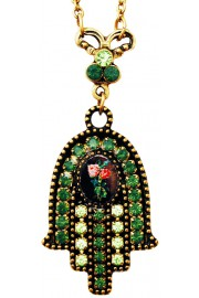 Michal Negrin Green Roses Cameo Hamsa Necklace