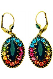 Michal Negrin Multicolor Icy Green Oval Earrings