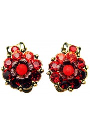 Michal Negrin Red Crystals Clip Earrings