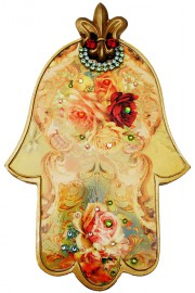 Michal Negrin Multicolor Roses Large Wall Hamsa