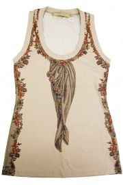 Michal Negrin Vintage Roses Cream Tank Top