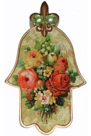 Michal Negrin Multicolor Roses Wall Hamsa