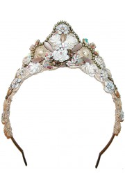 Michal Negrin White Lace Tiara Crown