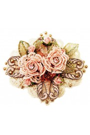 Michal Negrin Lilac Roses Lace Brooch