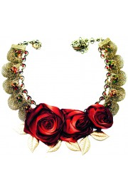 Michal Negrin Red Roses Lace Necklace