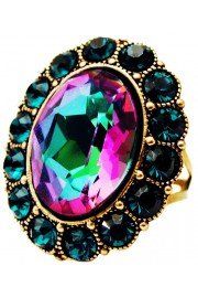 Michal Negrin Emerald Fuchsia Oval Crystal Ring