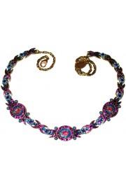 Michal Negrin Purple Blue Cameos Knots Necklace