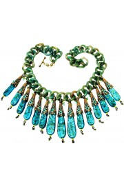 Michal Negrin Turquoise Green Retro Links Necklace