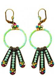 Michal Negrin Multicolor Green Beaded Hoop Earrings