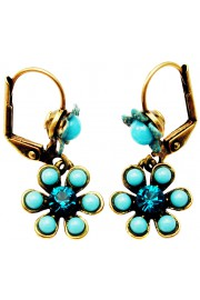 Michal Negrin Turquoise Crystal Beads Flower Earrings