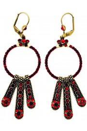 Michal Negrin Red Beaded Hoop Earrings