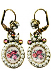 Michal Negrin Pearl Rose Cameo Earrings