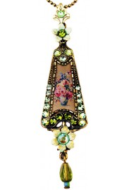 Michal Negrin Green Roses Triangle Necklace
