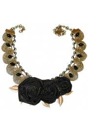 Michal Negrin Black Roses Lace Necklace