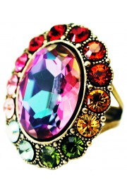 Michal Negrin Multicolor Oval Crystal Ring