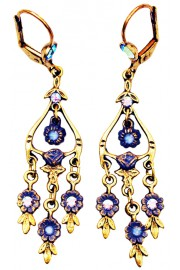 Michal Negrin Icy Blue Floral Drops Earrings
