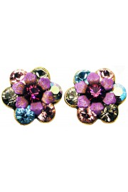Michal Negrin Purple Aqua Silver Crystal Flower Stud Earrings