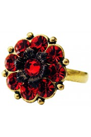 Michal Negrin Red Crystal Flower Ring