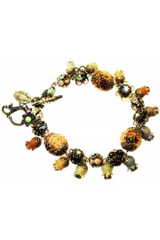 Michal Negrin Bronze Peach Khaki Bells Bracelet