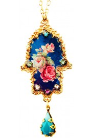 Michal Negrin Gold Plated Blue Roses Hamsa Necklace