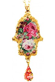 Michal Negrin Gold Plated Wild Roses Hamsa Necklace