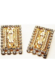 Michal Negrin Rectangle Gold Crystal Post Earrings