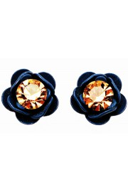 Michal Negrin Blue Gold Rose Stud Earrings